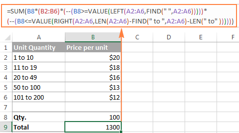 Array formula to perform different calculations on numbers within different ranges