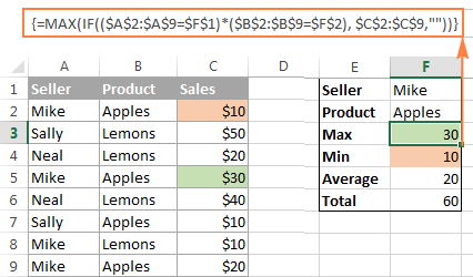 Using several functions in Excel array formulas