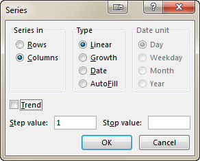See the Series dialog box with a number of advanced options to choose from