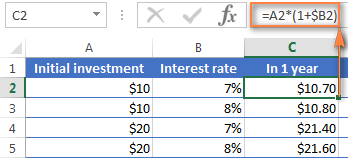 Using an annual compound interest formula in Excel
