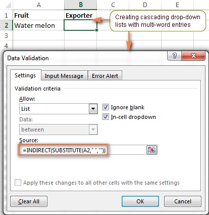 Creating a cascading drop-down list with multi-word entries