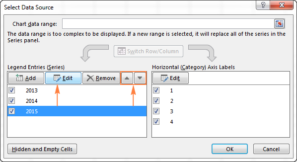 Editing the data series using Select Data Source dialog
