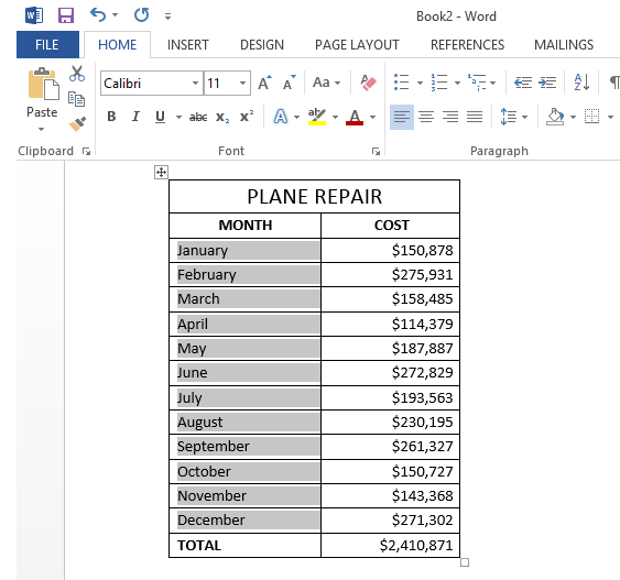 Select the changed table or columns to copy back to Excel
