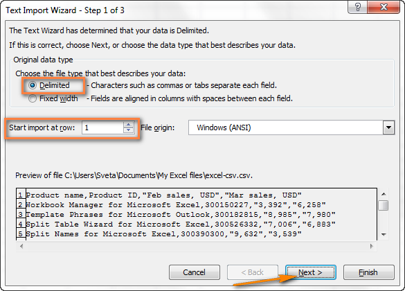 Choose the file type and the row number to start importing the data from CSV to Excel.