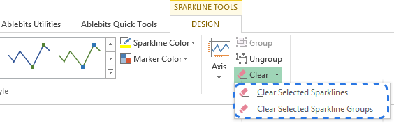 Click on the down arrow next to Clear on the DESIGN tab to delete a sparkline or a sparkline group