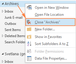 Close Archive in Outlook.