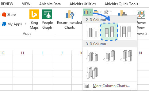 Click on the Insert Column Chart icon to open the drop-down menu