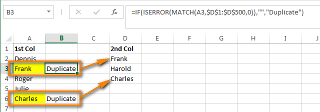 Compare two columns and find duplicates using Excel formulas