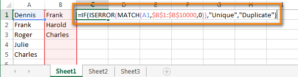 Excel formula to compare data between 2 columns and find duplicate and unique entries