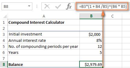 Compound interest formula for Excel