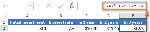 Another way to calculate the balance after 3 years with annual compound interest