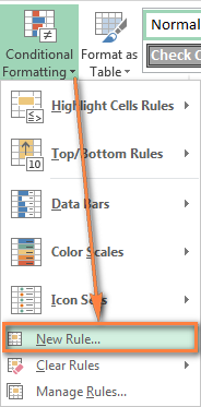 Creating a new conditional formatting rule using a formula