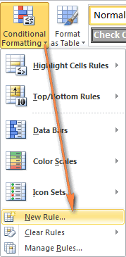Creating a new conditional formatting rule in Excel