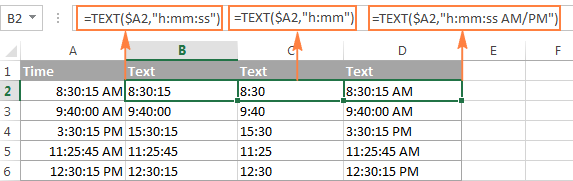 Converting time to text in Excel