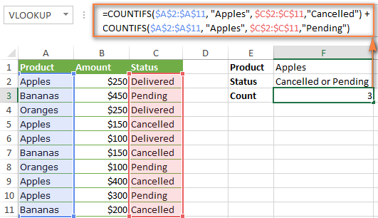 Another formula to count cells with multiple criteria and OR logic