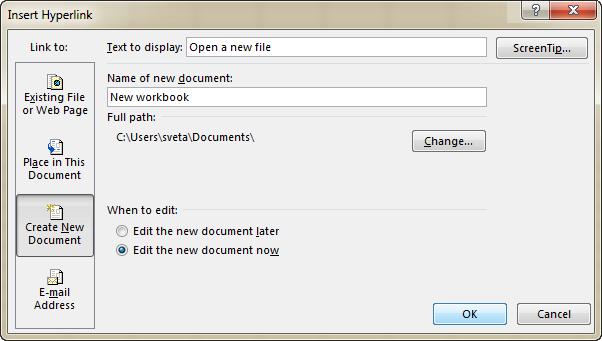 Insert a hyperlink to open a new workbook
