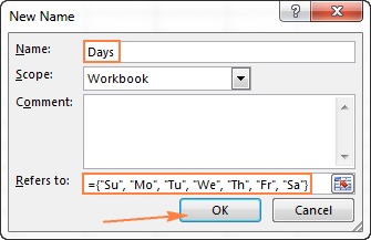 Creating a named array in Excel
