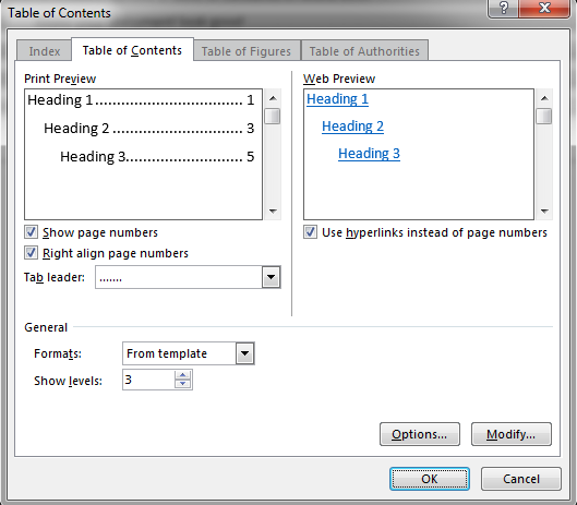Open the Table of Contents dialog box to customize the style