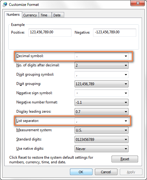 Change separators in Windows Region and Language settings.