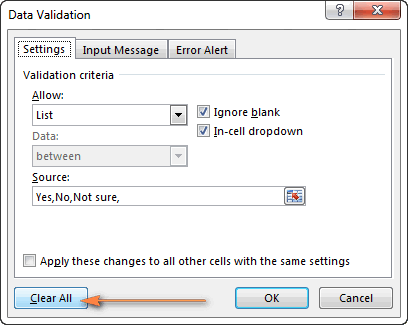 Removing a drop-down menu from selected cell(s)