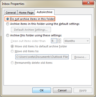 Exclude a specific folder from auto archiving.