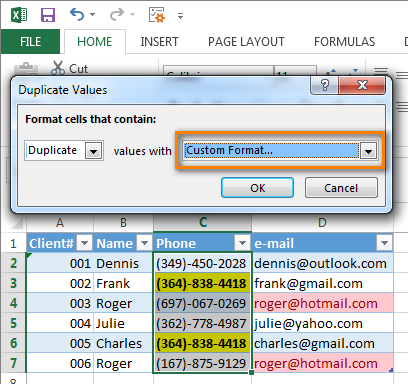 Define custom format for the cells
