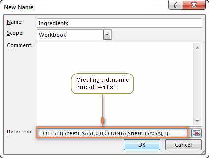 Creating a dynamic drop-down list in Excel using the OFFSET formula