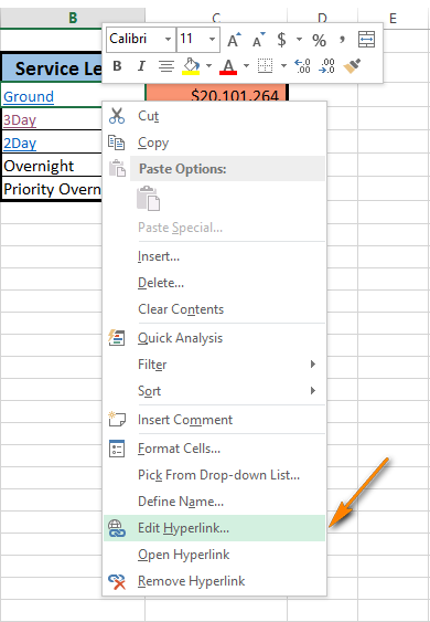 Right-click and choose Edit Hyperlink to open the Edit Hyperlink dialog box