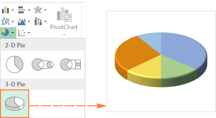 3-D pie chart in Excel