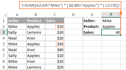 An array formula with the AND operator