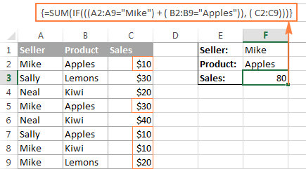 Excel array formula with the OR operator