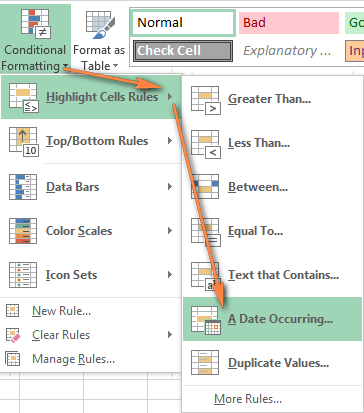 Excel conditional formatting built-in rules for dates