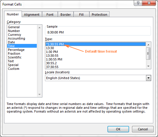 The default time format in Excel