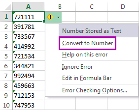 Select the option Convert to Number