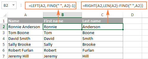 Splitting the first name and last names into separate columns.
