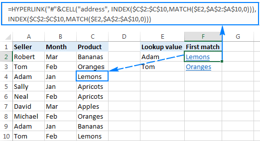 Vlookup and create a hyperlink to the first match