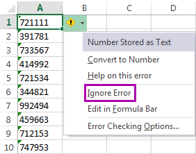 Select the Ignore Error option