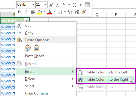 Click Insert and pick Table Columns to the Right or Table Columns to the Left