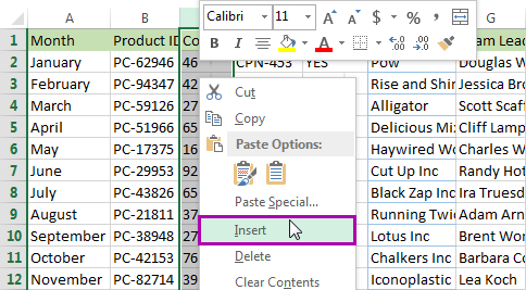 Right-click on the selected column and pick the Insert option