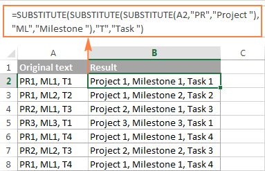 Using nested SUBSTITUTE functions in Excel