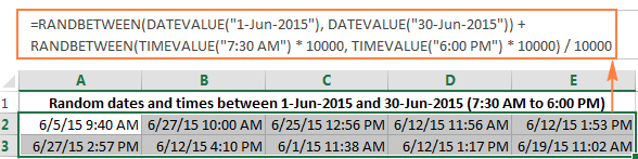 Generating random dates and times in a specified range