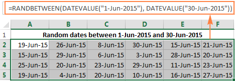 Generating random dates in Excel