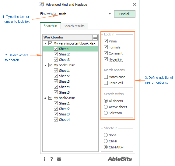 Type text or numbers to search for and configure additional options if needed.
