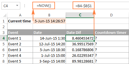 Setting up a countdown timer in Excel