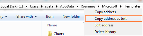 Find the path to the default folder where Excel templates are stored.