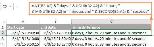 A user-friendly Excel time difference formula