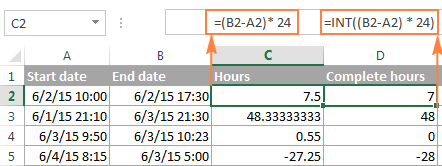 Calculating hours between two times in Excel