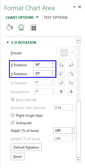 Enter the necessary number of degrees in the X and Y Rotation boxes