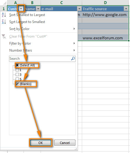 Excel Autofilter: show empty rows only