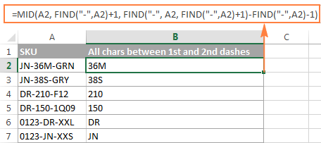 The FIND formula to return all characters between the first and second occurrences of a specific character